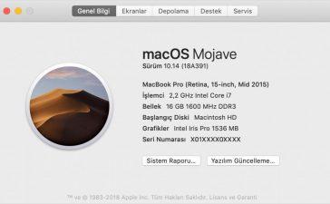 Macbook Sürüm Öğrenme (Model Öğrenme)